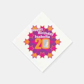 20th birthday photo and name pink star napkins