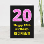"[ Thumbnail: 20th Birthday: Pink Stripes and Hearts ""20"" + Name Card ]"