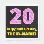 "[ Thumbnail: 20th Birthday: Pink Stripes and Hearts ""20"" + Name Napkins ]"