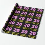 """[ Thumbnail: 20th Birthday: Pink Stripes and Hearts """"20"""" + Name Wrapping Paper ]"""