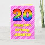 [ Thumbnail: 20th Birthday: Pink Stripes & Hearts, Rainbow # 20 Card ]