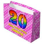 [ Thumbnail: 20th Birthday: Pink Stripes & Hearts, Rainbow # 20 Gift Bag ]