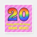 [ Thumbnail: 20th Birthday: Pink Stripes & Hearts, Rainbow # 20 Napkins ]