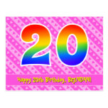[ Thumbnail: 20th Birthday: Pink Stripes & Hearts, Rainbow 20 Postcard ]