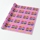 [ Thumbnail: 20th Birthday: Pink Stripes & Hearts, Rainbow # 20 Wrapping Paper ]