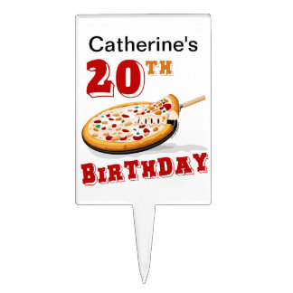 20th Birthday Pizza Party Cake Picks