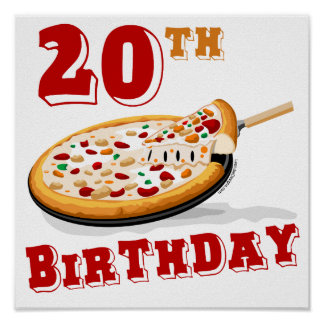 20th Birthday Pizza Party Poster