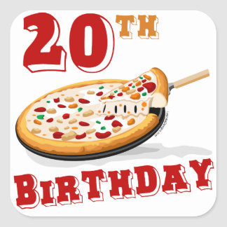 20th Birthday Pizza Party Square Stickers