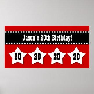 20th Birthday Red Black White Stars Banner V20S Poster