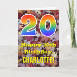 "[ Thumbnail: 20th Birthday; Rustic Autumn Leaves; Rainbow ""20"" Card ]"