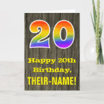 "[ Thumbnail: 20th Birthday: Rustic Faux Wood Look, Rainbow ""20"" Card ]"