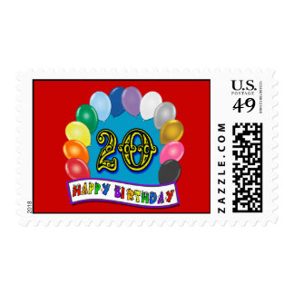 20th Birthday Stamp with Assorted Balloons Design