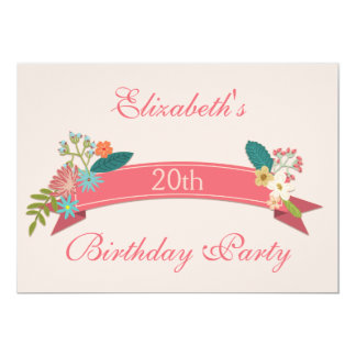20th Birthday Vintage Flowers Pink Banner Card