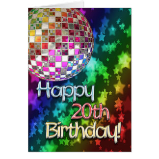 20th birthday with disco ball and rainbow of stars card