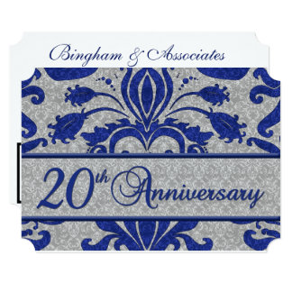 20th Business Anniversary Vintage Blue and Silver Invitation