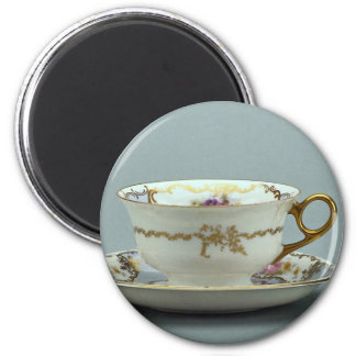 20th century tea cup and saucer, Bavaria, Germany 2 Inch Round Magnet