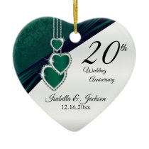 20th Emerald Green Wedding Anniversary Ceramic Ornament