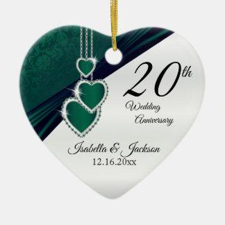 20th Emerald Green Wedding Anniversary Ceramic Ornament