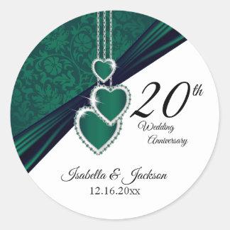 20th Emerald Wedding Anniversary Design Classic Round Sticker