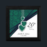 """20th Emerald Wedding Anniversary Design Keepsake Box<br><div class=""""desc"""">20th Wedding Anniversary Design Gift Box ready for you to personalize. ⭐This Product is 100% Customizable. Graphics and / or text can be added, deleted, moved, resized, changed around, rotated, etc... 99% of my designs in my store are done in layers. This makes it easy for you to resize and...</div>"""
