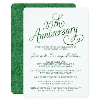 20th Emerald Wedding Anniversary Invitations