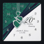 "20th Emerald Wedding Anniversary Keepsake Square Wall Clock<br><div class=""desc"">20th Emerald Wedding Anniversary Keepsake Clock that is ready to personalize. ⭐This Product is 100% Customizable. Graphics and / or text can be added, deleted, moved, resized, changed around, rotated, etc... 99% of my designs in my store are done in layers. This makes it easy for you to resize and...</div>"