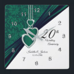 """20th Emerald Wedding Anniversary Keepsake Square Wall Clock<br><div class=""""desc"""">20th Emerald Wedding Anniversary Keepsake Clock that is ready to personalize. ⭐This Product is 100% Customizable. Graphics and / or text can be added, deleted, moved, resized, changed around, rotated, etc... 99% of my designs in my store are done in layers. This makes it easy for you to resize and...</div>"""