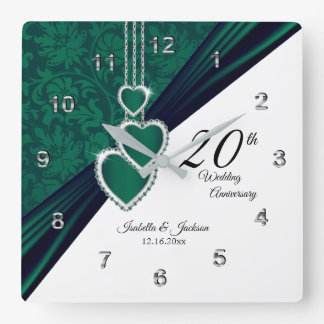 20th Emerald Wedding Anniversary Keepsake Square Wall Clock