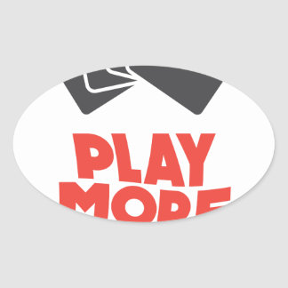 20th February - Play More Cards Day Oval Sticker