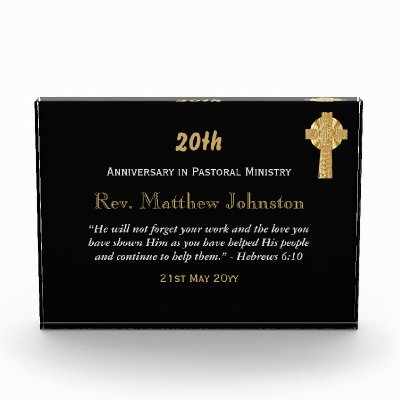 20th Ordination Anniversary Personalized Scripture Acrylic Award