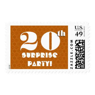 20th Surprise Birthday Party Gold and White W1262 Postage