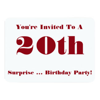 20th Surprise Birthday party Invite, red and white Card