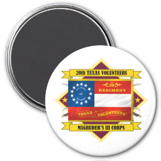 20th Texas Volunteer Infantry 3 Inch Round Magnet