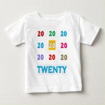 20th Twentieth xx Birthday Anniversary ELEGANT Gif Baby T-Shirt