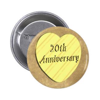 20th Wedding Anniversary 2 Inch Round Button