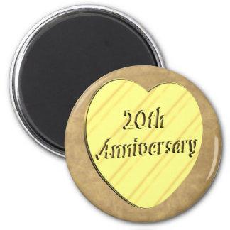 20th Wedding Anniversary 2 Inch Round Magnet