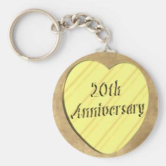 20th Wedding Anniversary Basic Round Button Keychain
