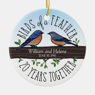 20th Wedding Anniversary, Bluebirds of a Feather Ceramic Ornament