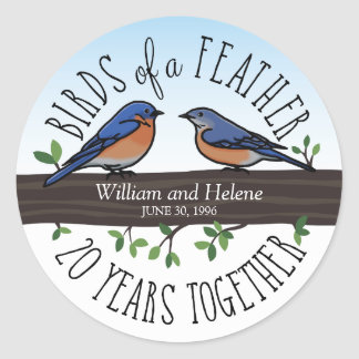 20th Wedding Anniversary, Bluebirds of a Feather Classic Round Sticker