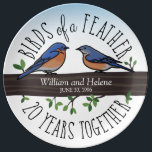 "20th Wedding Anniversary, Bluebirds of a Feather Plate<br><div class=""desc"">Birdwatchers will love this personalized 20th wedding anniversary keepsake! A male and female bluebird perching on a leafy tree branch are surrounded by handwritten text that reads, ""Birds of a Feather, 20 Years Together. Two names and a wedding date are featured near the center and can be customized. Perfect for...</div>"