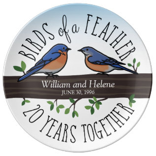 20th Wedding Anniversary, Bluebirds Of A Feather Plate at Zazzle