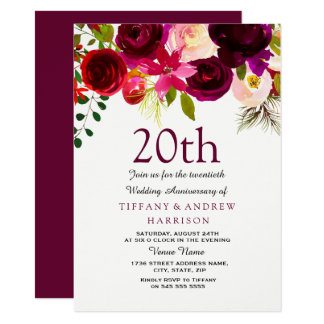 20th Wedding Anniversary Burgundy Flowers Invite