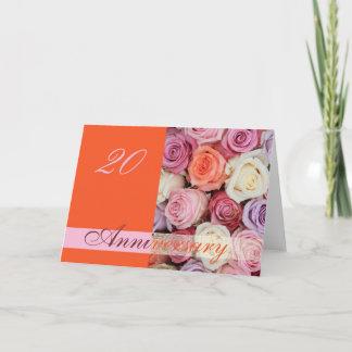 20th Wedding Anniversary Card pastel roses
