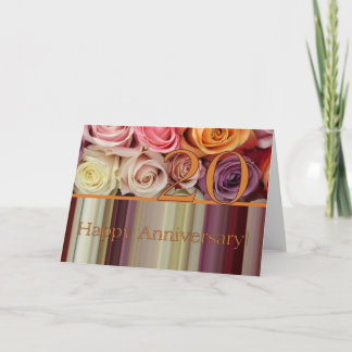 20th Wedding Anniversary Card -Pastel roses stripe