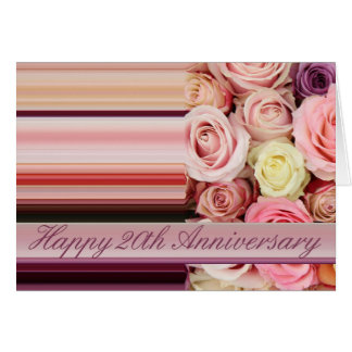 20th Wedding Anniversary Card -Pastel roses stripe