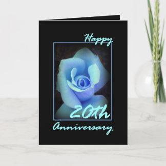 20th Wedding Anniversary Card with Blue Rosebud