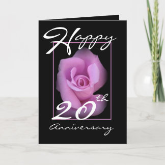 20th Wedding Anniversary Card with Pink Rosebud
