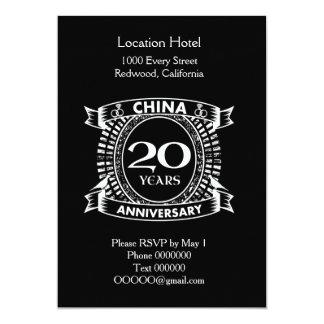 20TH wedding anniversary china Invitation