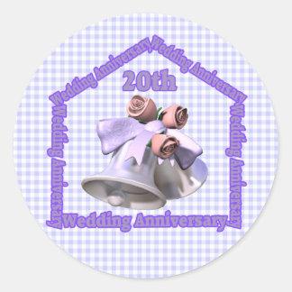 20th Wedding Anniversary Classic Round Sticker