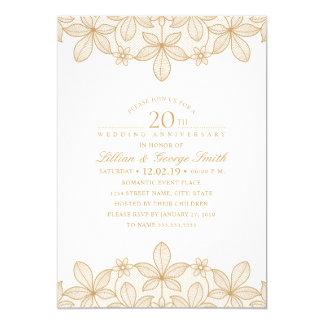 20th Wedding Anniversary Elegant Golden Lace Invitation